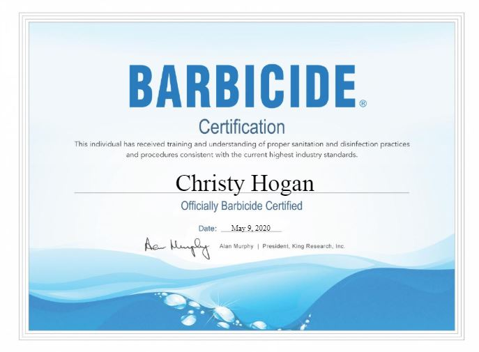 Barbicide Certificate on Sanitation for Christy Hogan @ The Beauty Barn Studio